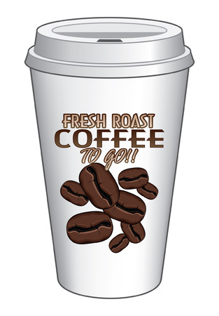 to go cup: Coffee To Go Cup Design Fresh Roast is an illustration of a coffee design on a to go or take out coffee cup  Includes coffee bean graphics  Illustration