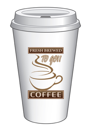 Coffee To Go Cup Design Fresh Brewed is an illustration of a coffee design on a to go or take out coffee cup  Includes coffee cup graphic