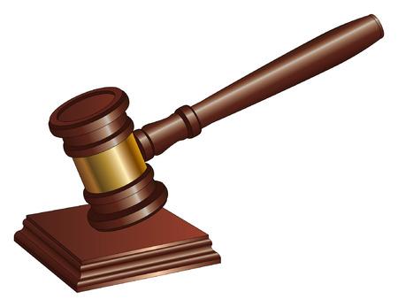 Gavel ist eine Darstellung von einem Hammer Richter und andere Symbole der Autorität verwendet Ein Hammer wird verwendet, um die Aufmerksamkeit verlangen und Entscheidungen und Proklamationen streichen Standard-Bild - 26056864