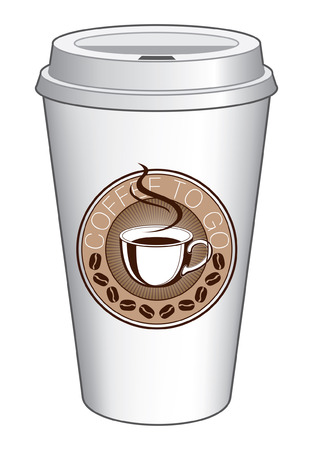 Coffee To Go Cup Design With Steaming Cup is an illustration of a coffee design on a to go coffee cup  Includes a coffee cup and coffee bean graphics Imagens - 26056869