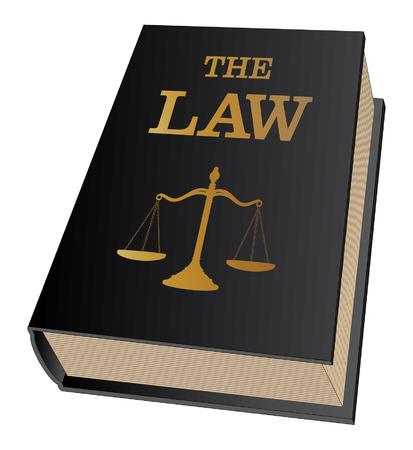 Boek van de wet is een illustratie van een wet boek gebruikt door advocaten en rechters Vertegenwoordigt juridische zaken en juridische procedures