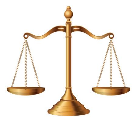 Escalas de la justicia es una ilustración de la balanza de la justicia que simbolizan la medida de apoyo s un caso y la oposición en un tribunal de justicia Ilustración de vector