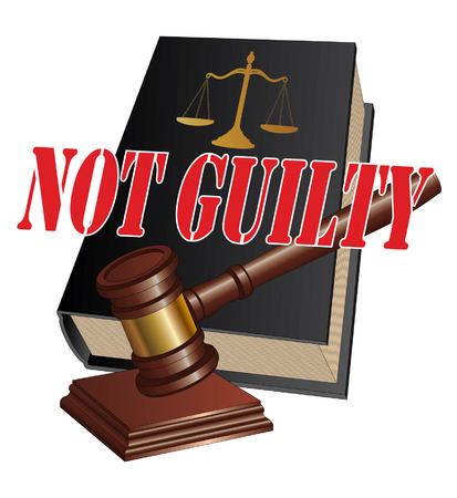 proceedings: Not Guilty Verdict is an illustration of a design representing a not guilty verdict as the outcome of legal proceedings in a court of law  Illustration