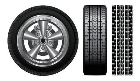 휠 - 타이어 및 합금 림은 또한 타이어와 타이어 트랙의 전면 뷰를 포함 로터와 브레이크를 보여주는 타이어와 합금 테두리와 휠의 그림입니다