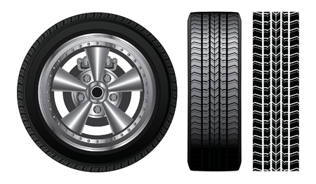 tyre tread: Wheel - Tire and Alloy Rim is an illustration of a wheel with tire and alloy rim  showing rotor and brakes  Also includes front view of tire and tire track