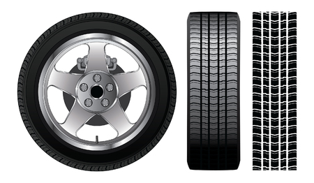 Wheel - Tire and Aluminum Rim is an illustration of a wheel with tire and alloy rim  showing rotor and brakes  Also includes front view of tire and tire track