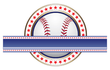 Baseball Design With Banner is an illustration of a baseball design done in red white and blue with a baseball and a large blank banner for your text  Vector