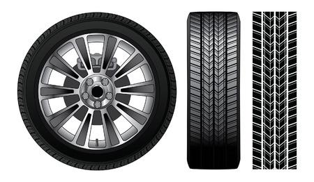 cerchione: Wheel - pneumatico e cerchio � una illustrazione di una ruota con pneumatico e cerchio in lega mostrando rotore e freni comprende anche vista frontale del pneumatico e pneumatico pista