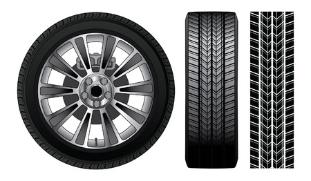 tread: Wheel - Tire and Rim is an illustration of a wheel with tire and alloy rim  showing rotor and brakes  Also includes front view of tire and tire track