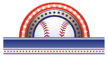 hardball: Baseball Design With Stars is an illustration of a baseball design done in red white and blue with a baseball and a large blank banner for your text