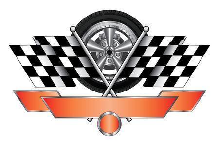 Disegno Corsa Con Wheel è un esempio di un design racing con la rotella, bandiere corsa, banner per il testo e cerchio aperto per il numero di auto Grande per t-shirts