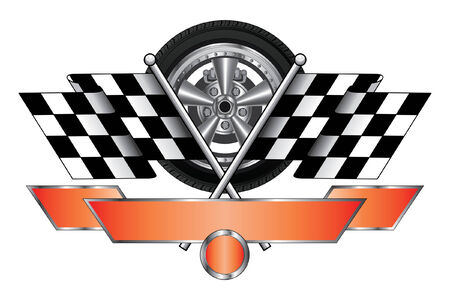 wheel rim: Racing Design With Wheel is an illustration of a racing design with wheel, race flags, banner for your text and open circle for the car number  Great for t-shirts