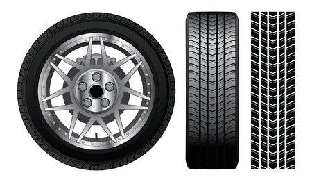 wheel rim: Wheel - Tire and Rim With Brakes is an illustration of a wheel with tire and alloy rim  showing rotor and brakes  Also includes front view of tire and tire track