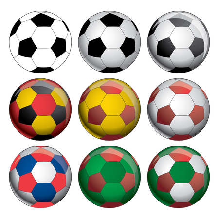 Soccer Balls is an illustration of nine soccer balls or footballs  A series of three at the top from simple to complex and 6 additional below in multiple colors