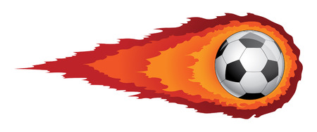 Soccer Ball With Flames is an illustration of a soccer ball or football with flames or fire trailing behind it  Reminiscent of a comet  Vector