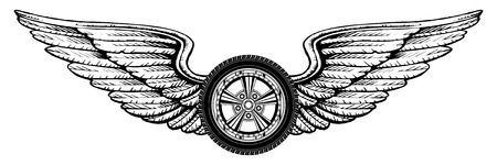 wheel rim: Wheel With Wings is an illustration of a wheel with wings design  Great for t-shirts designs and other automobile racing designs