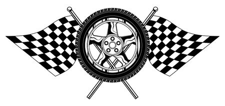 finish flag: Wheel With Flags is an illustration of a wheel with racing flags design  Great for t-shirts designs and other automobile racing designs