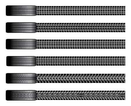 Tires and Tire Tracks is an illustration of six different tires from a birds eye view and their tire tracks  Ilustração