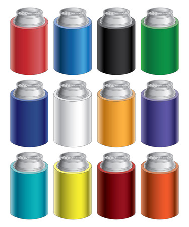 cooler: Koozies is an illustration of blank koozie with aluminum can in twelve different colors  Great for mock ups