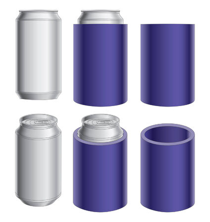 aluminum: Aluminum Can and Collapsible Koozie is an illustration of an aluminum can, can with collapsible koozie and collapsible koozie without the can  Great for mock ups