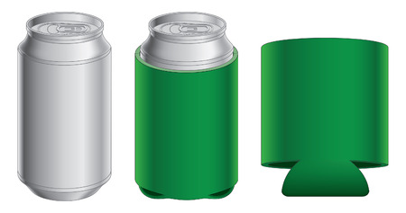 beer can: Aluminum Can and Koozie is an illustration of an aluminum can, can with koozie and koozie without the can  Great for mock ups