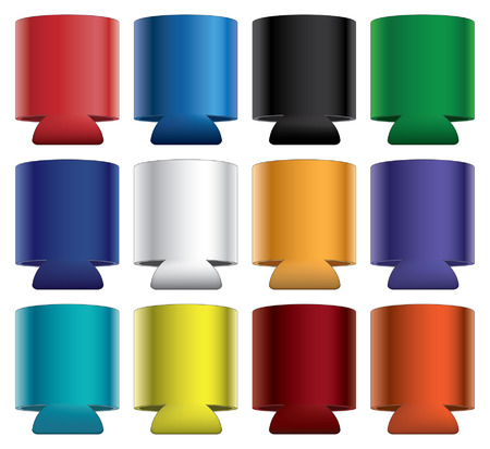 beer can: Koozies-Collapsible is an illustration of blank collapsible koozie with aluminum can in twelve different colors  Great for mock ups  Illustration