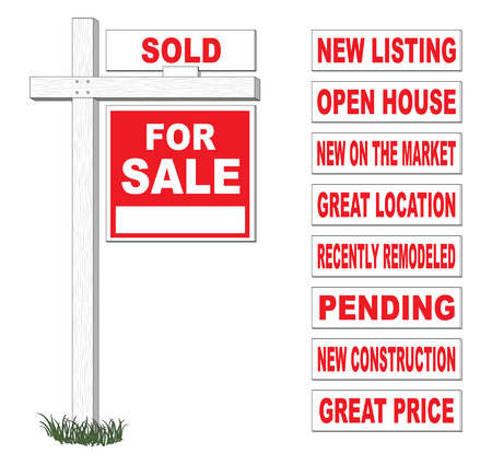 For Sale Sign With Interchangeable Riders is an illustration of a for sale sign on wooden post with space for your text and nine different interchangeable top rider signs  Vettoriali