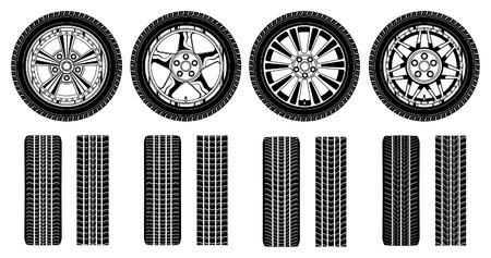 felgen: Rad - Reifen Alu-Felgen und Reifen-Bahnen ist eine Darstellung der vier Reifen, Felgen-und Reifenspuren in einem Schwarz-Wei�-Grafik-Stil