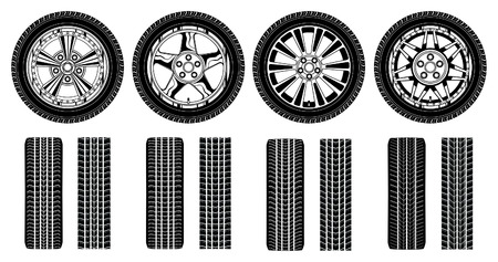 tread: Wheel - Tires Alloy Rims and Tire Tracks is an illustration of four tires, alloy rims and tire tracks in a black and white graphic style  Illustration