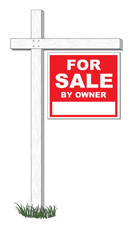 homes for sale: For Sale By Owner Sign Illustration