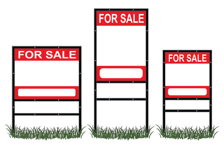 sold sign: Real Estate For Sale Signs Illustration