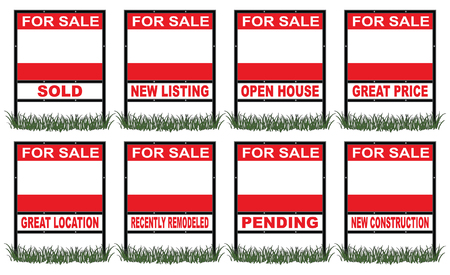 for sale sign: Real Estate For Sale Sign Short is an illustration of a real estate for sale sign in short size with eight different riders signs indicating sold, pending, etc  as well as open space for your phone number and other information  Illustration