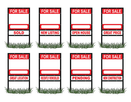Real Estate For Sale Sign Standard is an illustration of a real estate for sale sign in standard size with eight different riders signs indicating sold, pending, etc  as well as open space for your phone number and other information  Vectores