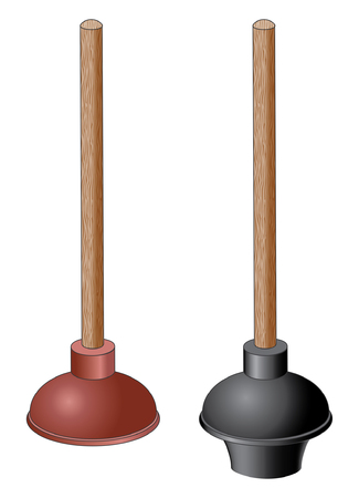 Plunger is an illustration of two types of plungers  One is red and used mainly for sinks  The other is black and mainly used for toilets  Vector