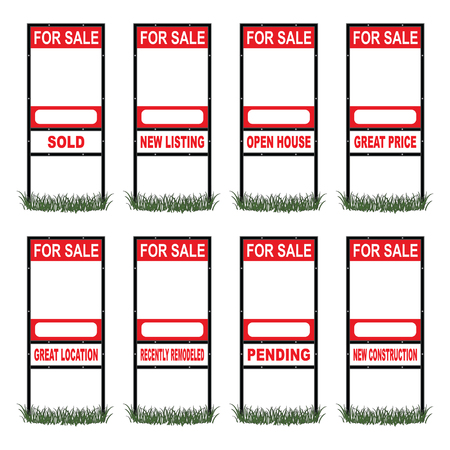 for sale sign: Real Estate For Sale Sign Tall is an illustration of a real estate for sale sign in tall size with eight different riders signs indicating sold, pending, etc  as well as open space for your phone number and other information