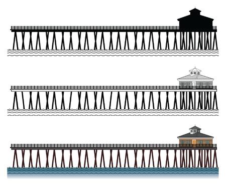 桟橋はシルエット、黒と白のラインおよび色 3 橋脚のイラスト  イラスト・ベクター素材