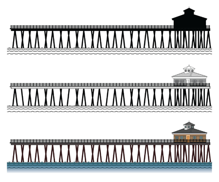 Pier is an illustration of a three piers in silhouette, in black and white lines and in color  Vectores