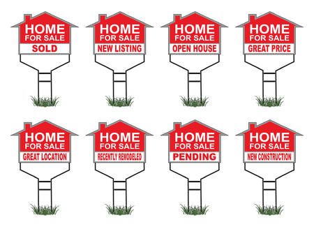 for sale sign: Home For Sale Signs With Riders is an illustration of a real estate home for sale sign with eight different riders signs indicating sold, pending, etc  as well as open space for your phone number and other information