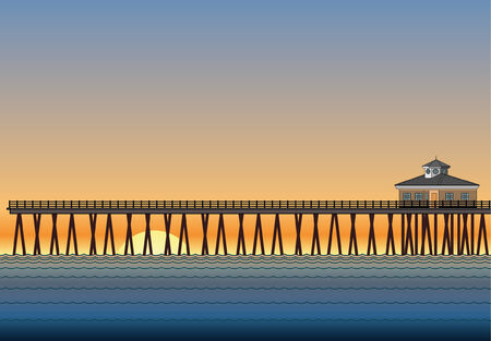 Pier With Sunset is an illustration of a pier on the ocean with sunset or sunrise in the background