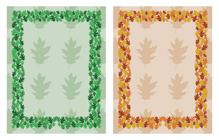 be green: Oak Leaf Frame Border is an illustration of a border or frame composed of oak leaves in assorted sizes and green colors with space for your text  Can be used as a card
