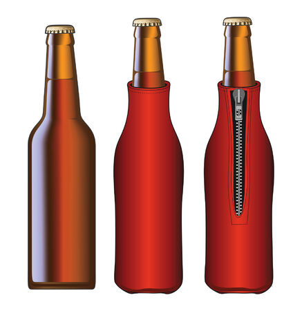 cooled: Beer Bottle With Koozie is an illustration of a beer bottle and a beer bottle with koozie or cooler from front and back views