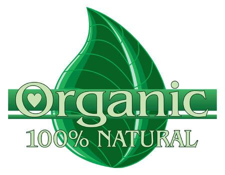 有機グリーン デザインと葉は有機食品を表す、農村の緑の葉のグラフィック デザインのイラスト
