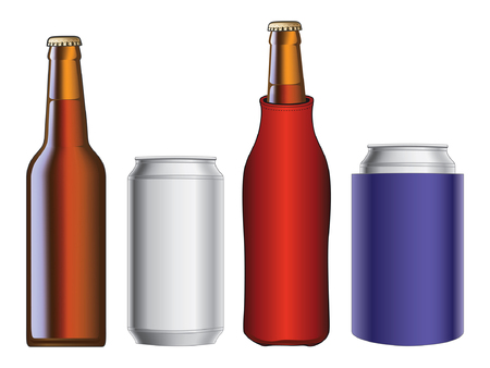 cooler: Beer Bottle and Can With and Without Koozie is an illustration of a beer bottle and aluminum beer can from a front view with and without koozie or cooler