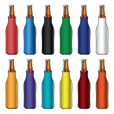 cooled: Bottle Koozies or Coolers is an illustration of blank koozie with glass bottles in twelve different colors  Great for mock ups  Illustration