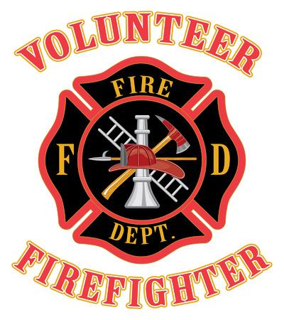 Volunteer Firefighter With Maltese Cross Illustration