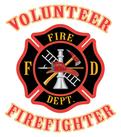 fireman helmet: Volunteer Firefighter With Maltese Cross Illustration