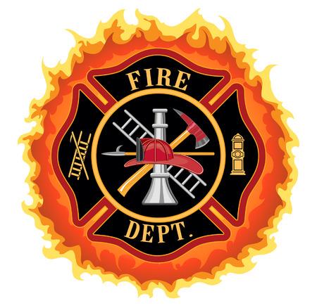 Cruz del bombero con las llamas es una ilustración de un cuerpo de bomberos o bombero Símbolo de la cruz maltesa con las llamas Incluye bombero herramientas símbolo
