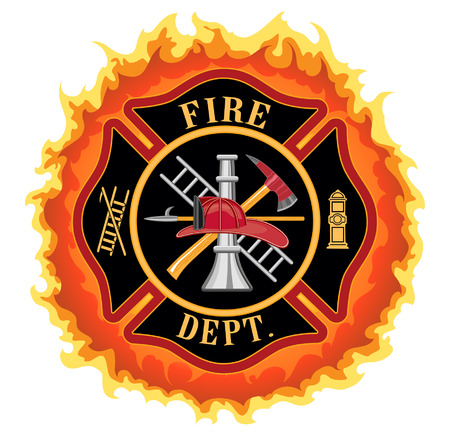 casco rojo: Cruz del bombero con las llamas es una ilustraci�n de un cuerpo de bomberos o bombero S�mbolo de la cruz maltesa con las llamas Incluye bombero herramientas s�mbolo