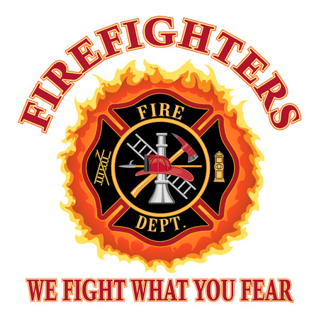 """Firefighters We Fight What You Fear is an illustration of a fire department or firefighter Maltese cross symbol design with flames and """"We Fight What You Fear"""" slogan  Includes firefighter tools symbol  Stock Illustratie"""