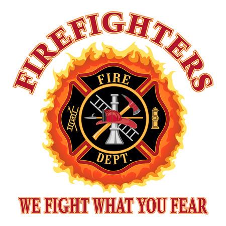 Brandweerlieden We Fight Wat je vreest is een illustratie van een brandweer of brandweerman Maltezer kruis symbool ontwerp met vlammen en wij vechten waar je bang slogan Inclusief brandweerman gereedschap symbool Stock Illustratie